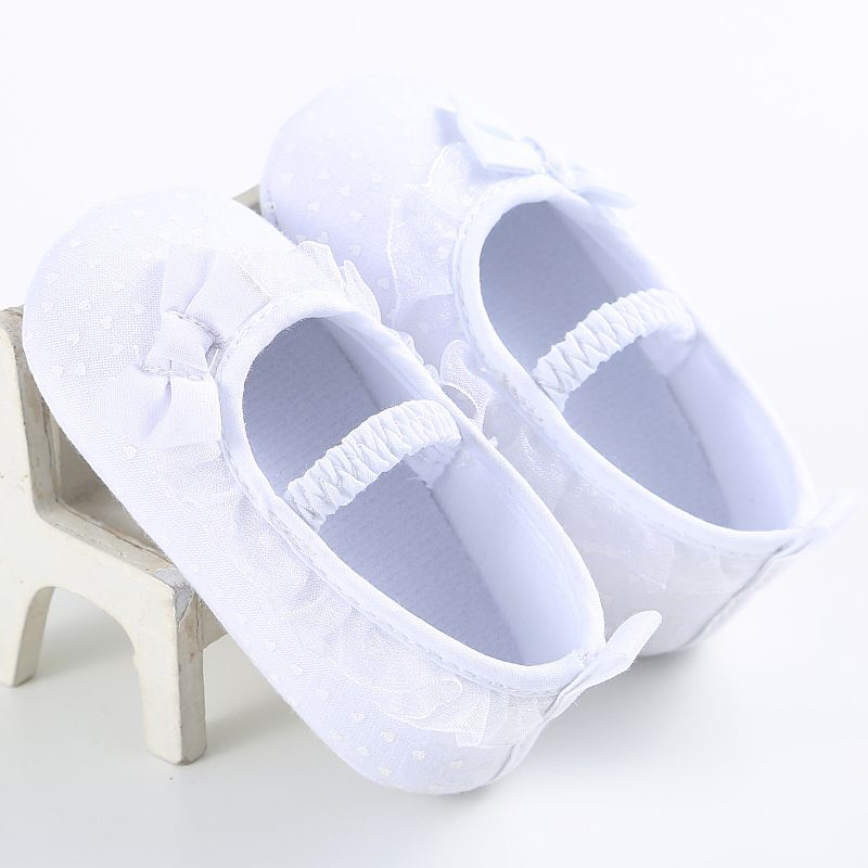 Newborn White Bowknot Dot First Walker Baby Girl Lace Shoes Prewalker Anti-slip Simple Baby Shoes Fashionable Style; In