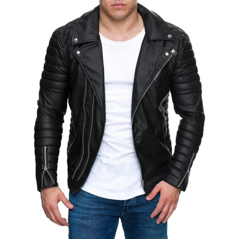 Leather Jacket Male New Casual Zippers Motorcycle Leather Jacket Men Punk Outwear Handsome Black Biker Jacket Men M-3XL