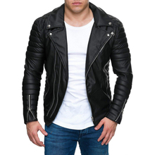 Leather Jacket Male New Casual Zippers Motorcycle Leather Jacket