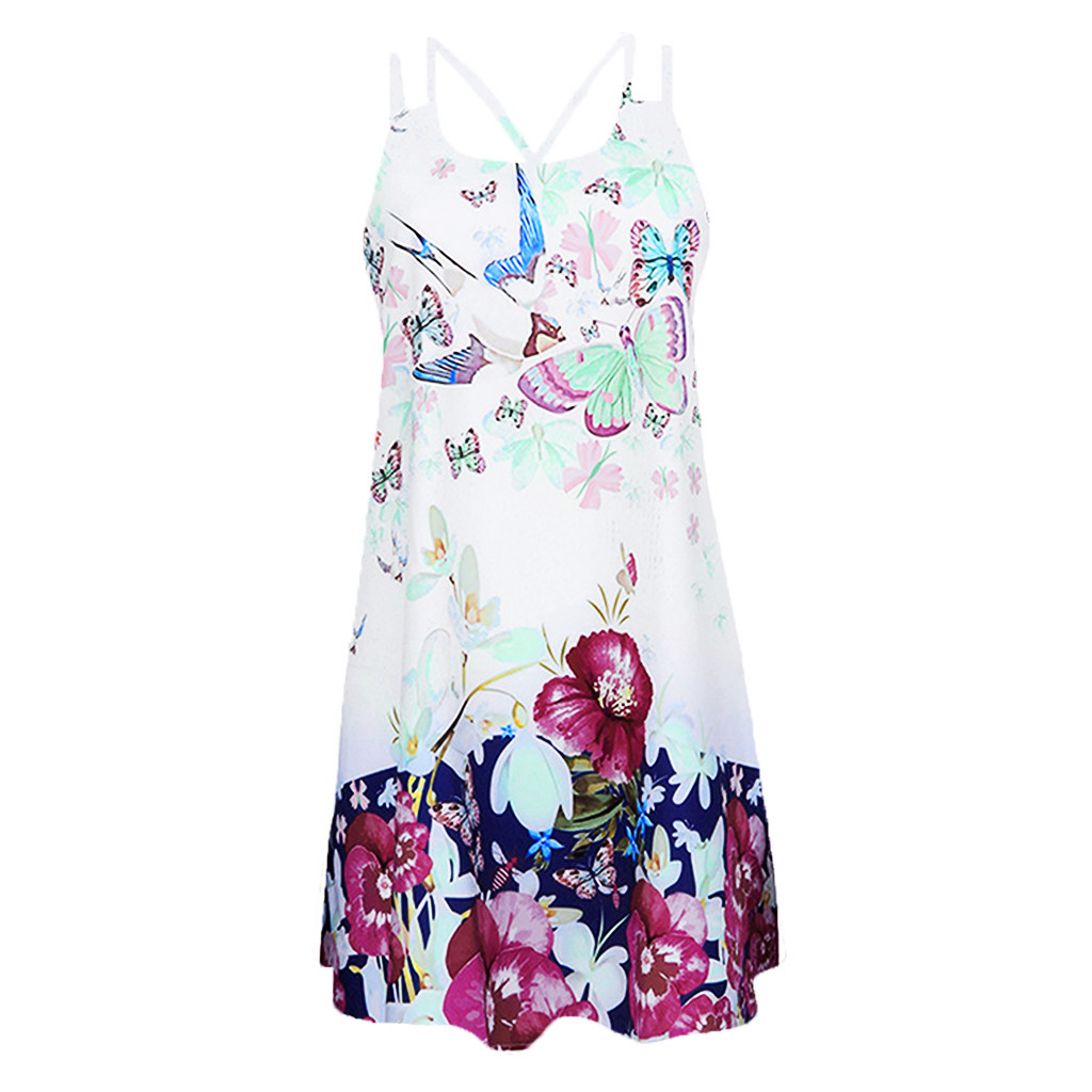 Vintage Boho Women Summer Dress Sleeveless Beach Flower Printed Short Mini dresses woman party night beach dresses vestidos NEW