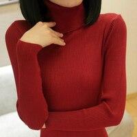 PEONFLY осень Эластичный длинный рукав свитера Женский пуловер Водолазка женские пуловеры джемпер уличная трикотажные топы черный красный