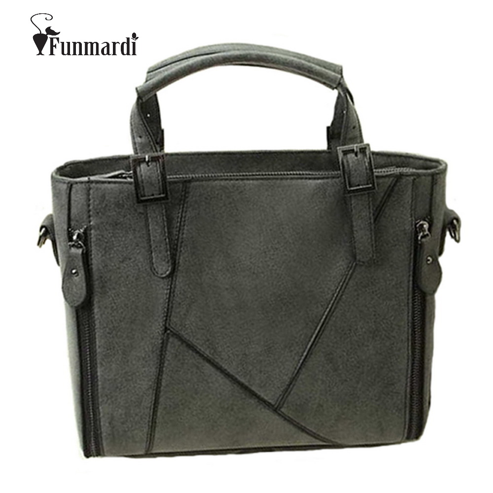 FUNMARDI New arrival Fashion classical patchwork frosted PU leather women bag retro female leather handbag/shoulder bag WLHB936 new arrival 2017 brand pu leather women handbag soft pu leather shoulder bag fashion solid zipper women bag
