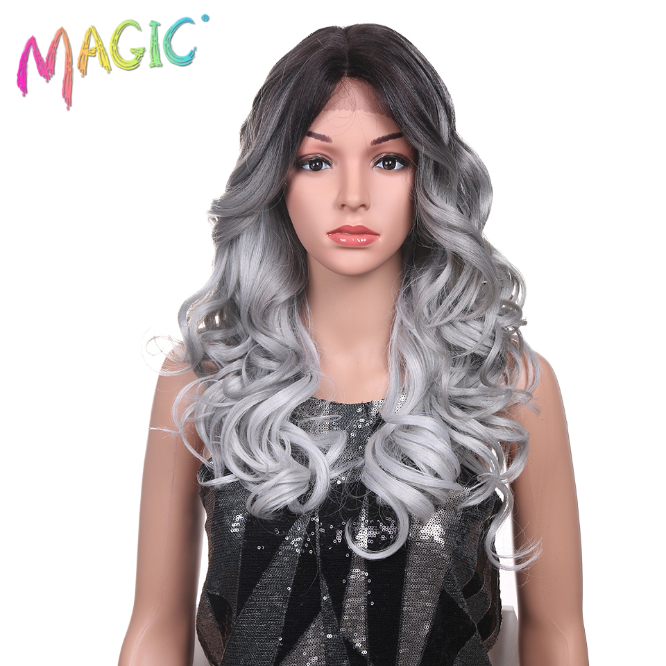 Magic Wigs Blonde Synthetic-Lace Hair-24inch Heat-Resistant Wavy Loose Long Hand-Tied
