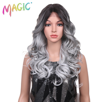 Magic Hair Hand Tied Long Loose Wavy Hair 24 Inch Blonde Grey Color Wigs High Density Heat Resistant Synthetic Lace Front Wigs