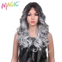 Magie Haar Hand Gebunden Lange Lose Wellenförmige Haar 24 Zoll Blonde Grau Farbe Perücken Hohe Dichte Wärme Beständig Synthetische Spitze vordere Perücken