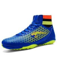 2017 Nuevos Hombres Niños Atan Para Arriba Los Zapatos de Fútbol de Césped de Los Niños Botas de fútbol Cornamusas Interior Azul/Oro High Top Men Fútbol Entrenadores niños
