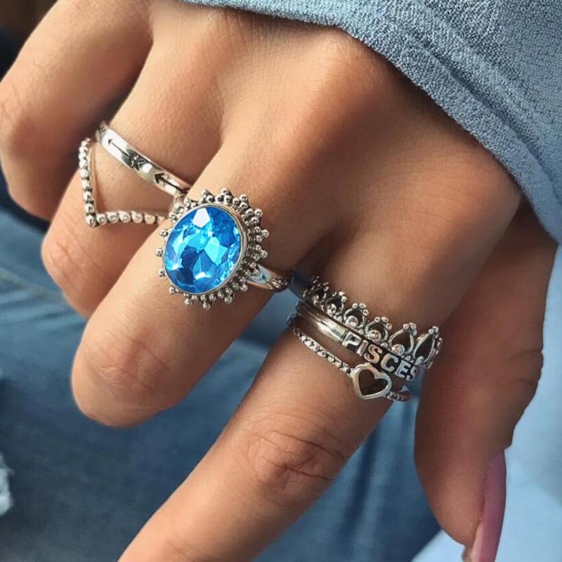 Blue Stone Rings Finger-Jewelry Crystal Heart Vintage Fashion Women for Boho Punk 6pcs/Set