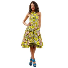 Shenbolen African Hanging neck Dresses for women Traditional Ankara Cotton Print dress new fashion lady Sexy Clothes