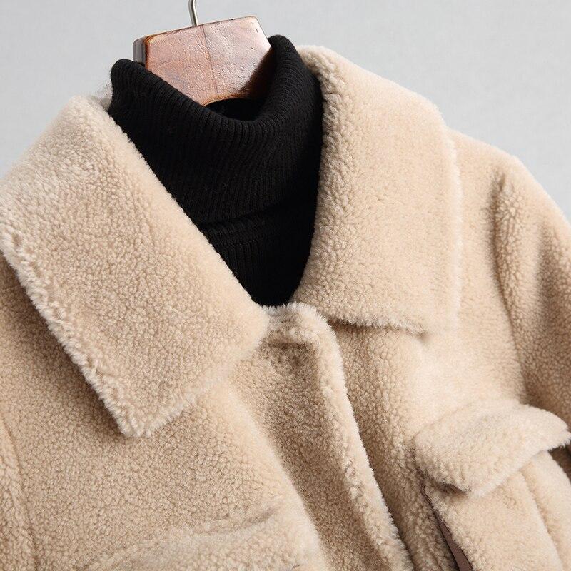 Hiver Beige Automne Femmes Laine Mouton Réel De Manteau Mujer Manteaux Abrigo Slim Nouveau Fourrure Veste Long Européenne Z830 0wYqq8T