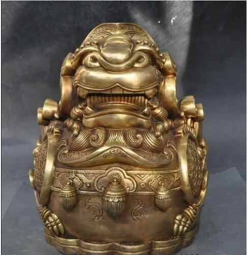 YM  305 china brass fengshui Animal wealth money lucky coin pixiu Brave troops statue
