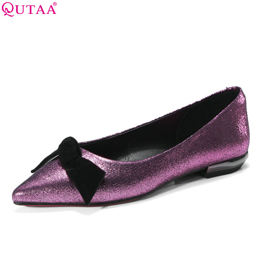 QUTAA 2018 Women Pumps Pointed Toe Kid Suede Fashion Slip on Bow Tie Wmen Shoes Square Heel All Match Ladies Pumps Size 34-42 2017 new fashion brand spring shoes large size crystal pointed toe kid suede thick heel women pumps party sweet office lady shoe