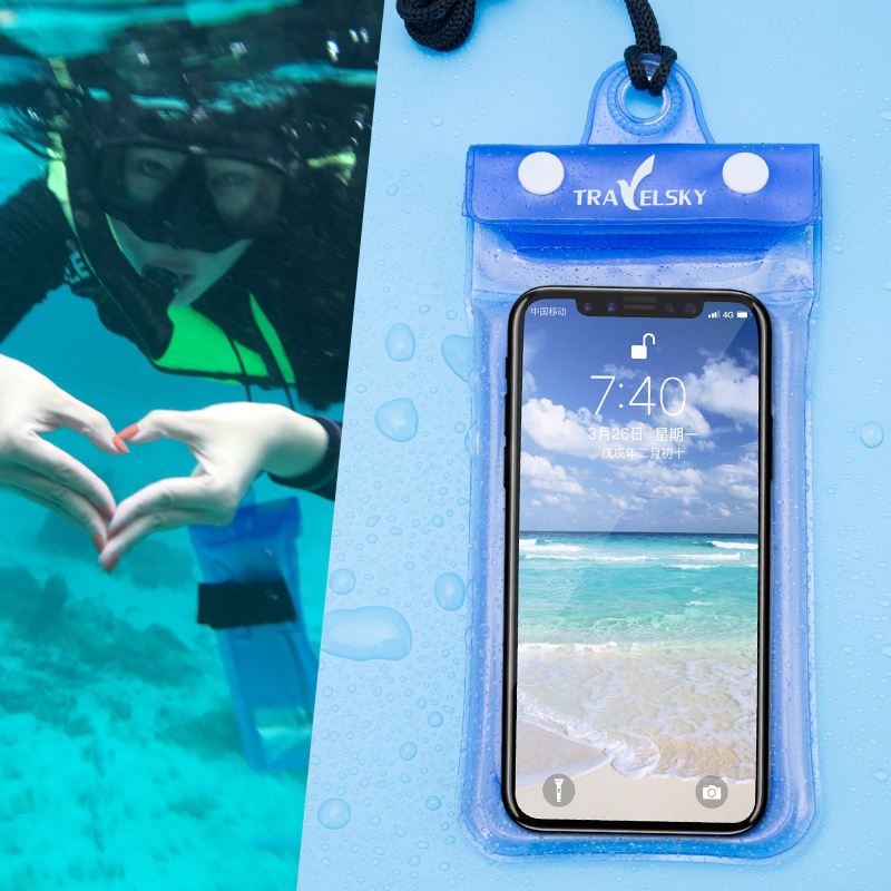 Universal Waterproof Airbag Floating Phone Case Cell Phone Dry Diving Bag Pouch With Armband & Neck Strap For IPhone X/8 Plus