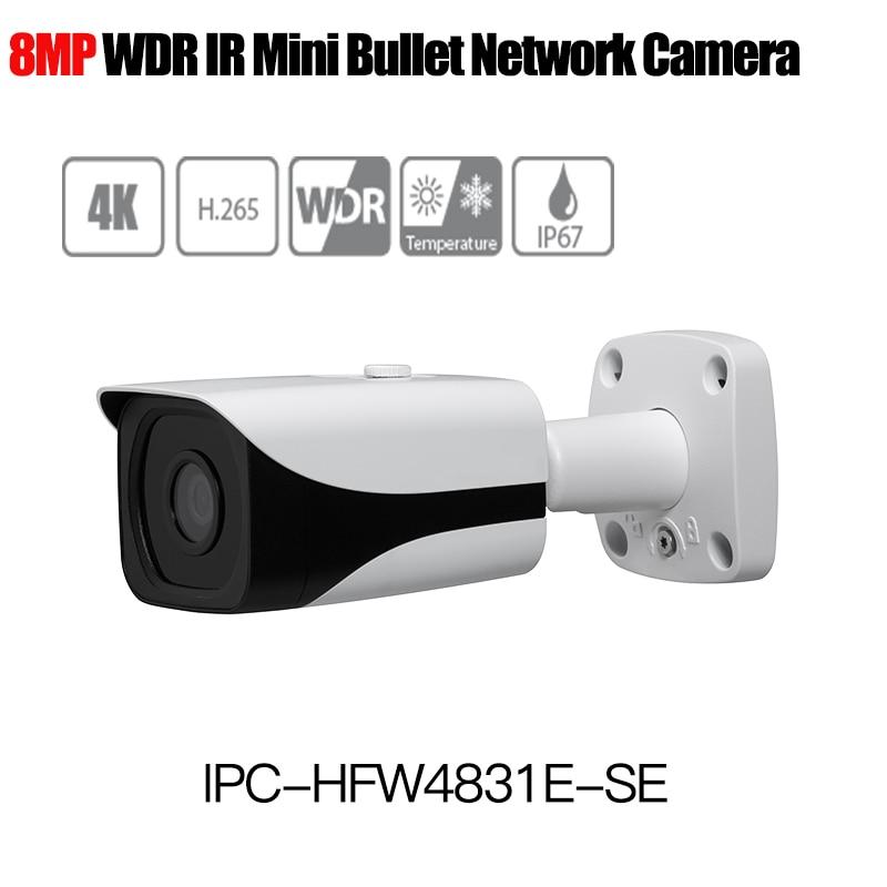 DH Original english H.265 4K IP Camera IPC-HFW4831E-SE 8Mp WDR IR Bullet Network Camera 4K outdoor ip camera without logo free shipping dahua cctv camera 4k 8mp wdr ir mini bullet network camera ip67 with poe without logo ipc hfw4831e se