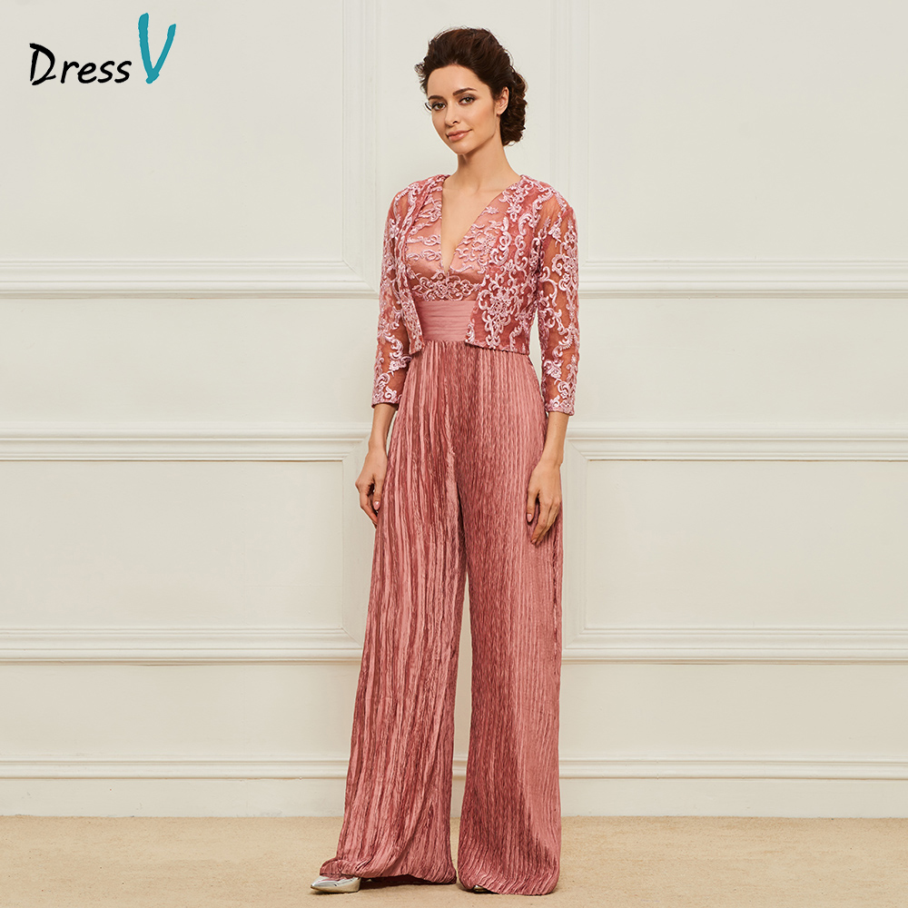 Dressv dark pink long mother of the bride v neck a line floor length half sleeves lace formal party mother of the bride dress
