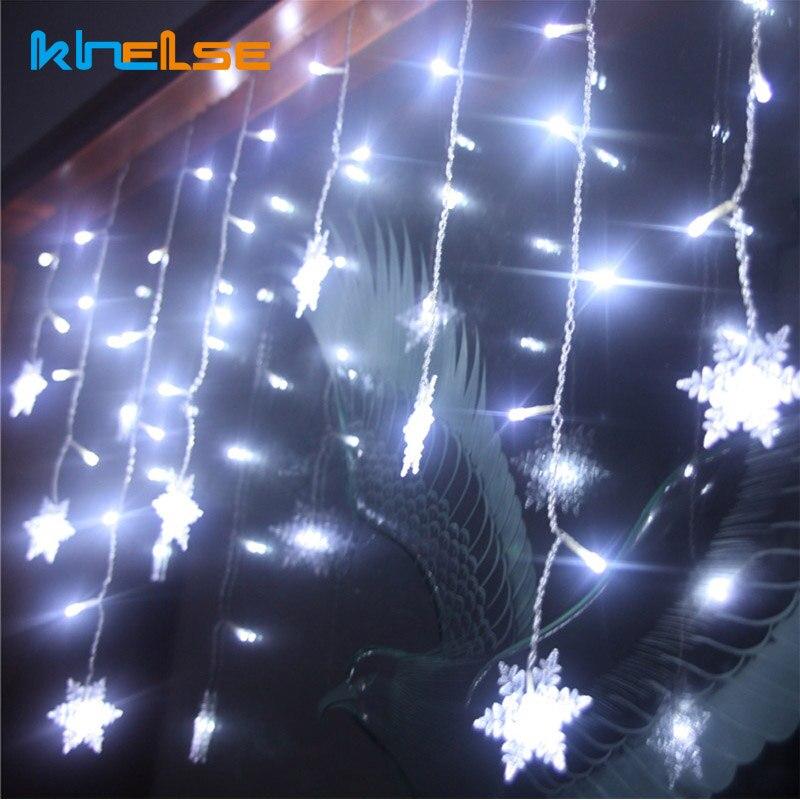 New 3.5m Led Curtain snowflake String Light Fairy Lights 8modes Christmas New Year Lights Wedding Party Decoration UK plug
