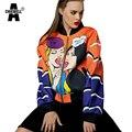 Achiewell primavera mujeres casual escudo muchacha de la historieta/piruleta patrón impreso de orange & blue zipper bolsito escudo bomber jacket tops