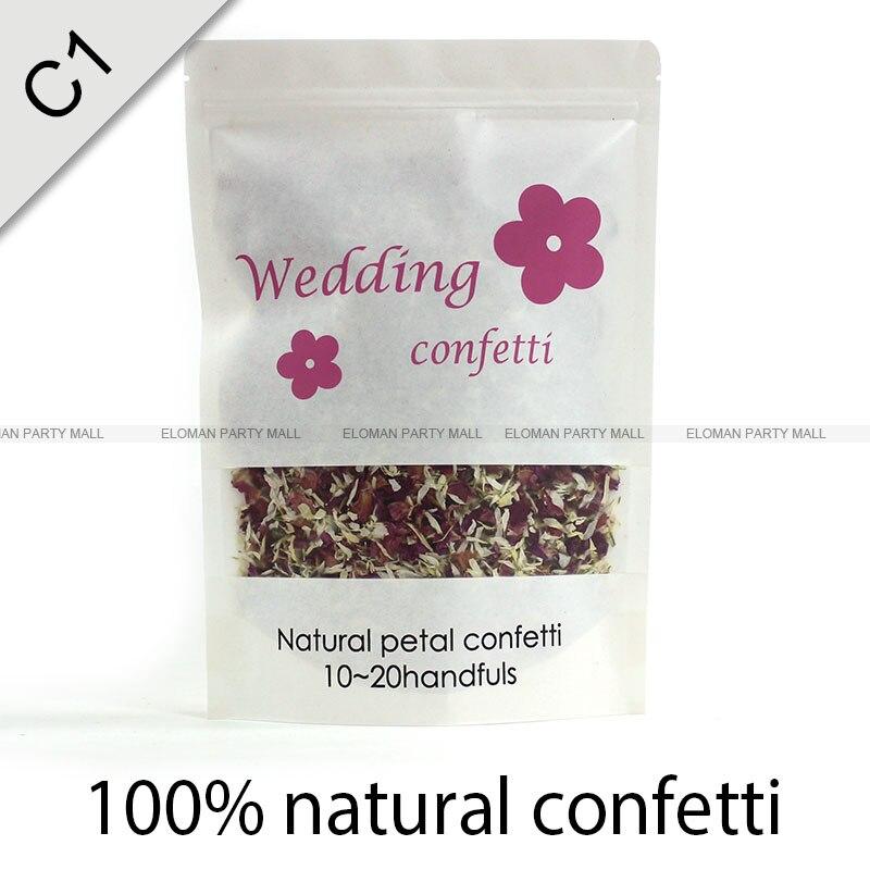 Натуральные свадебные конфетти ELOMAN сушеные розы Конфетти в форме лепестков Свадебные и праздничные украшения биоразлагаемые 1л - Цвет: natural confetti-1L