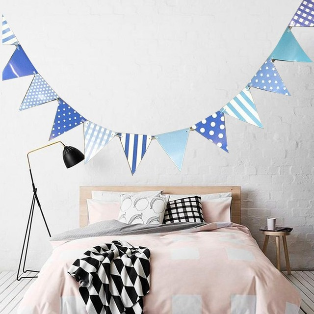 Paper Flags Bunting Blue Dots Baby Shower Happy Birthday Handmade Banner for Birthday Party Boy Decoration Supplies