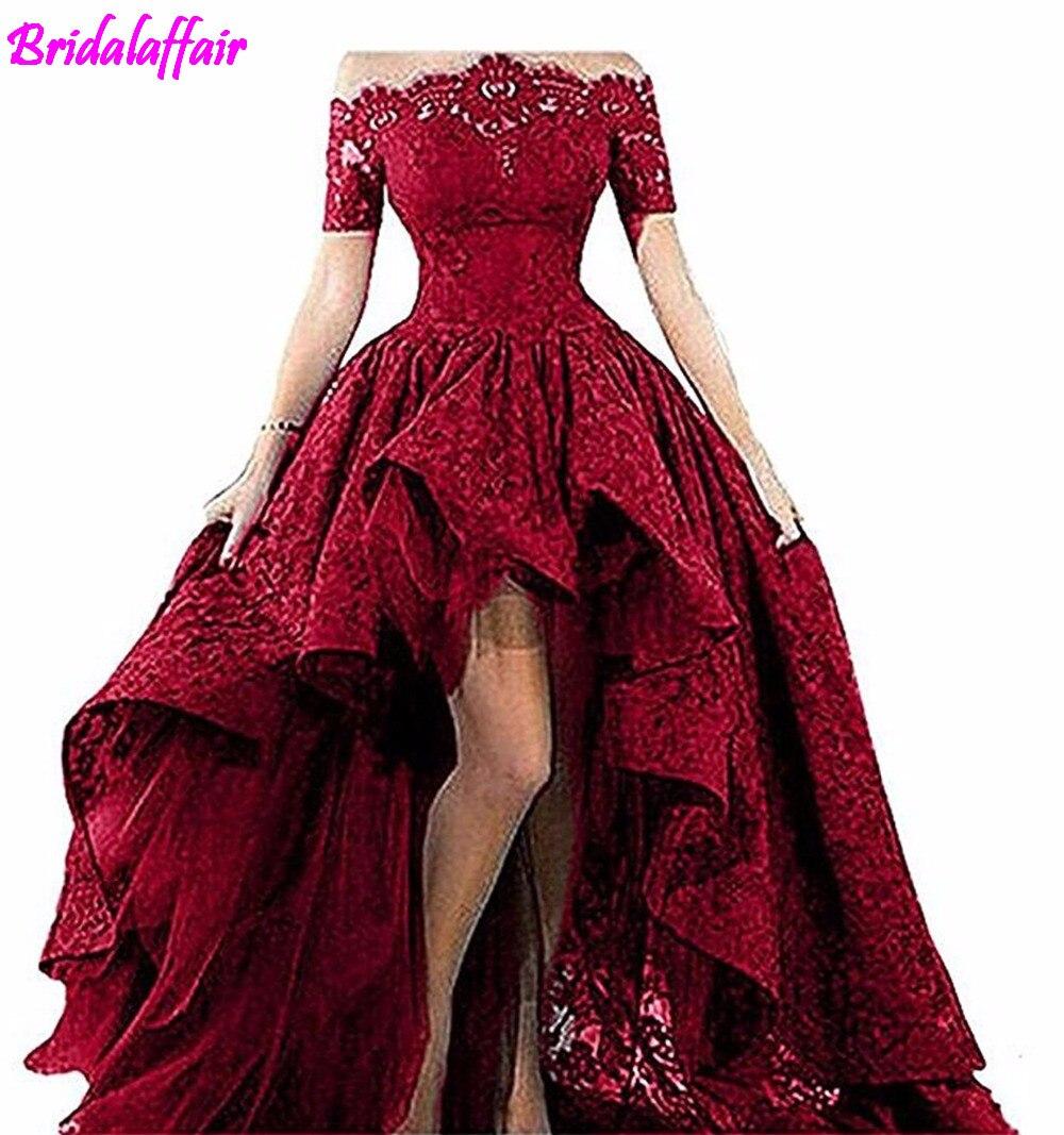 Bridal affair Pizzo Nero Senza Spalline Al Largo Della Spalla Maniche Corte Alto Basso Prom Dresses