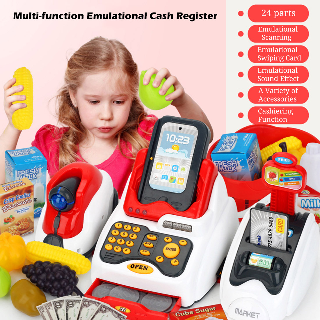 Rowsfire Lovely Children Pretend Play Toys Classic Supermarket Cash Register Kits for Kids Logical Thinking Ability Development