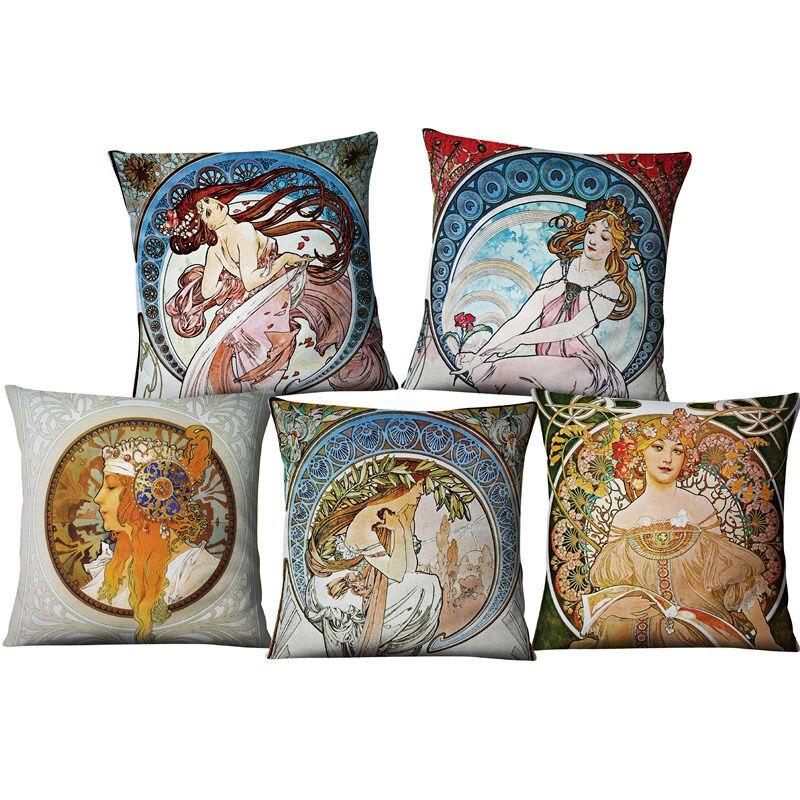 Vintage européen Art Nouveau Mucha galerie housse de coussin canapé maison décorative belle fille motif lin luxe taie d'oreiller