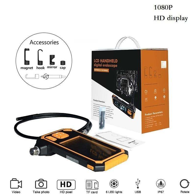 HD 1080 P Da 4.3 Pollici di Visualizzazione 8 millimetri Endoscopio Macchina Fotografica di Controllo 1/3/5/10 M endoscopio 2600 mAh Batteria Al Litio Serpente Duro Cam