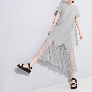 Image 5 - [EAM] vestido de primavera verano con cuello redondo, manga corta, encaje negro, temperamento largo, moda, JU177, 2020