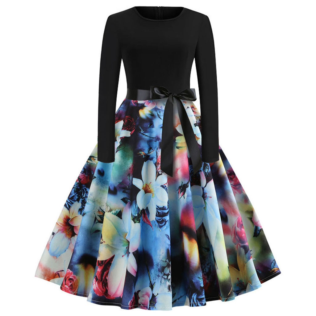 feitong Women Vintage Print Long Sleeve Casual Evening Party Prom Swing Dress summer style women clothing plus size Knee-Length