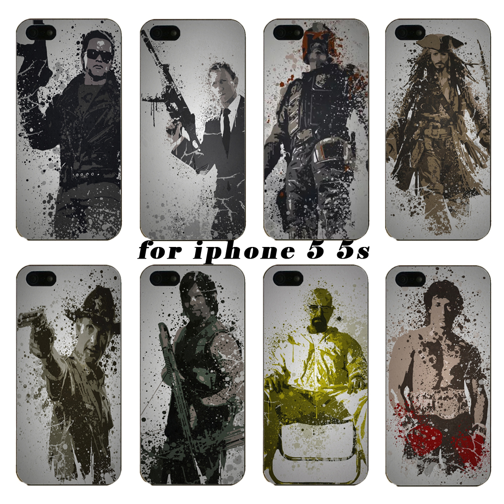 Latest fashion phone shell case about ink figure for the iphone 5 5s, buyers are free shipping