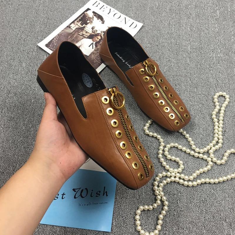 Zapatos Diseñador Pisos Toe Cuero Mujeres Flats Black De Cuadrado Rivet Mules Frente Punk Calzado Marca Las Genuino Ocio brown Femenino Zip Para qw8qvU
