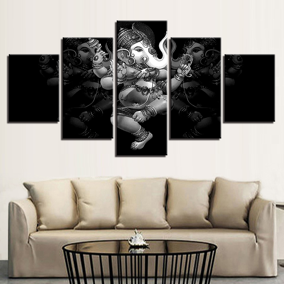 Printed Poster Wall Modular Artwork Photo Picture 5 Panel Lord Ganesha Canvas Art Home Decoration Living Room Modern Paintings