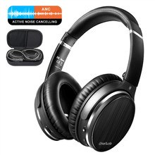 Oneodio cancelamento de ruído ativo fones sem fio bluetooth fone de ouvido sobre a orelha estéreo APT X baixa latência anc fone de ouvido com microfone