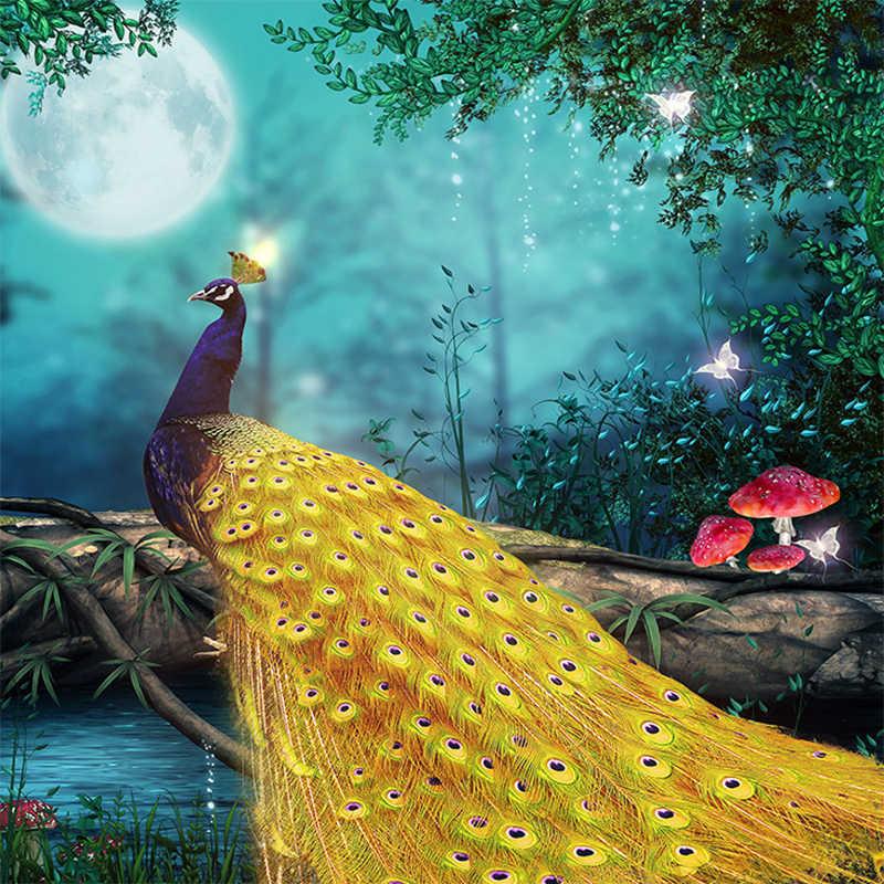 Mural 3D personalizado papel pintado Luna Pavo Real foto de bosque pared Pintura Sala dormitorio fondo decorativo papel pintado