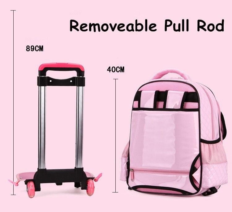 Оптовая продажа! для девочек 18 Мода розовый черный искусственная кожа колесиках ранцы, милые Тележка ранцы для девочки, для маленькой принц...