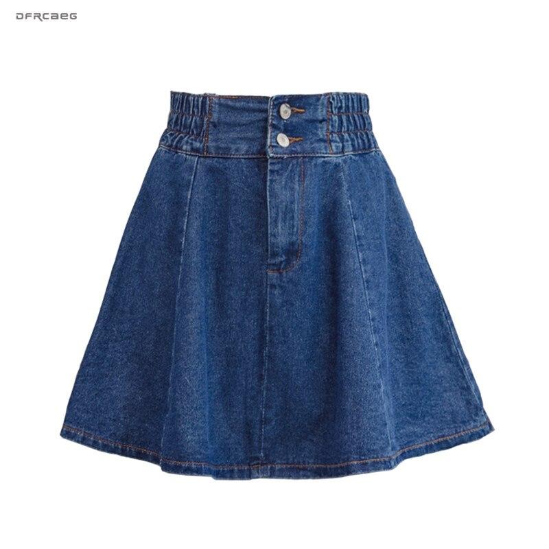 New Arrivals Basic Women Denim Skater Skirts 2019 Fashion Elastic High Waist Streetwear Jeans Skirt Female(China)