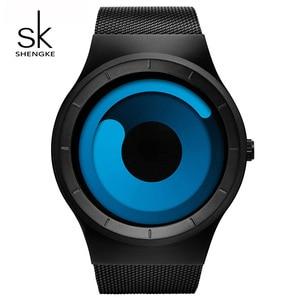 Image 2 - Shengke reloj deportivo para hombre, de cuarzo, de lujo, de acero, de creatividad única, Led, minimalista, con caída de agua, SK # S9619