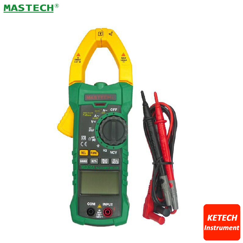 New MASTECH MS2015A Digital Clamp Meter 1000 amps True RMS Multimeter AC/DC Voltage Current Frequency Capacitance Tester mastech ms8217 portable digital multimeter auto ranging ac dc voltage dmm rel frequency