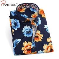 Phanteen Summer Short Sleeve Man Shirt Floral Print Slim Fit Camisa Masculina Casual Beach Style Men