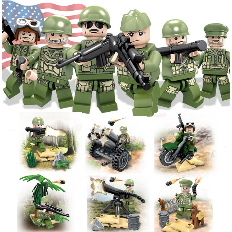 6pcs/set WW2 American Military Army SWAT Soilders Building Blocks sets With Weapons guns accessories bricks figure children toys military city police swat team army soldiers with weapons ww2 building blocks toys for children gift