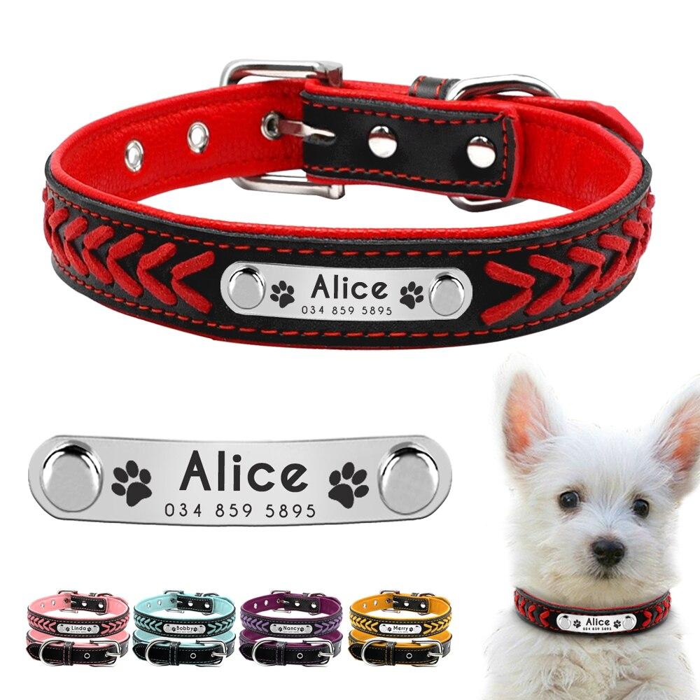 Personalisierte Hund Kragen Customized Hundehalsbänder Padded PU Leder Hundehalsband Name ID Halsbänder für Small Medium Large Hunde Katzen