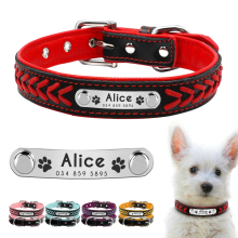 Personalisierte Hundehalsband Customized Hundehalsbänder Padded PU Leder Hundehalsband Name ID Halsbänder für kleine mittlere große Hunde Katzen