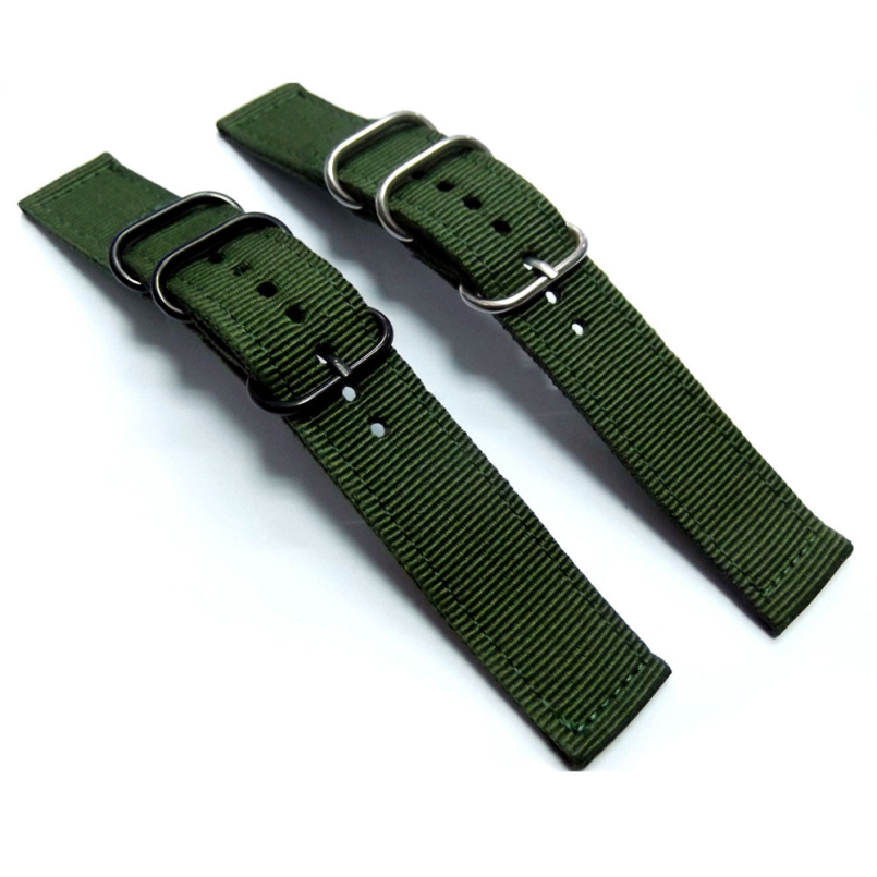 Excellent Quality New 20mm Green Military Watch Strap Band Strong Heavy Duty Nylon Divers Brushed Buckle Free Shipping