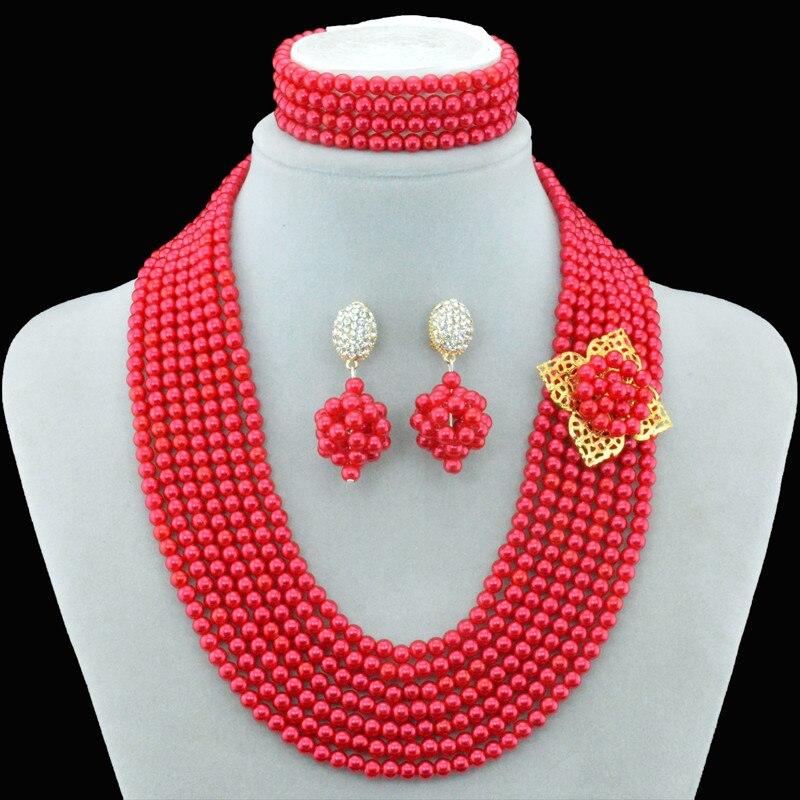 1f4eaf6add13 2016 nigeriano Boda nupcial traje rojo imitación perla Juegos de joyería  para las mujeres africanas Cuentas Crystal collar y Pendientes conjunto