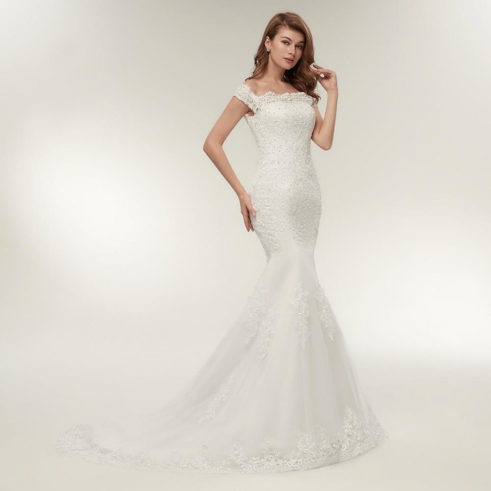 Image 2 - Fansmile Real Photo Vestidos de Novia Vintage Lace Mermaid Wedding Dress 2019 Plus Size Bridal Gowns Robe de Mariage FSM 165M-in Wedding Dresses from Weddings & Events