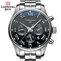 Carnaval mecânicos inteiramente automáticas masculino relógio de aço completa relogio masculina de luxo famosa marca relógios multifuncionais à prova d ' água