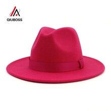 QIUBOSS, женские, женские, розовые, шерсть, фетр, джаз, фетровые шляпы, модные, женские, Трилби, плоские поля, Панама, шляпа игрока, карнавал