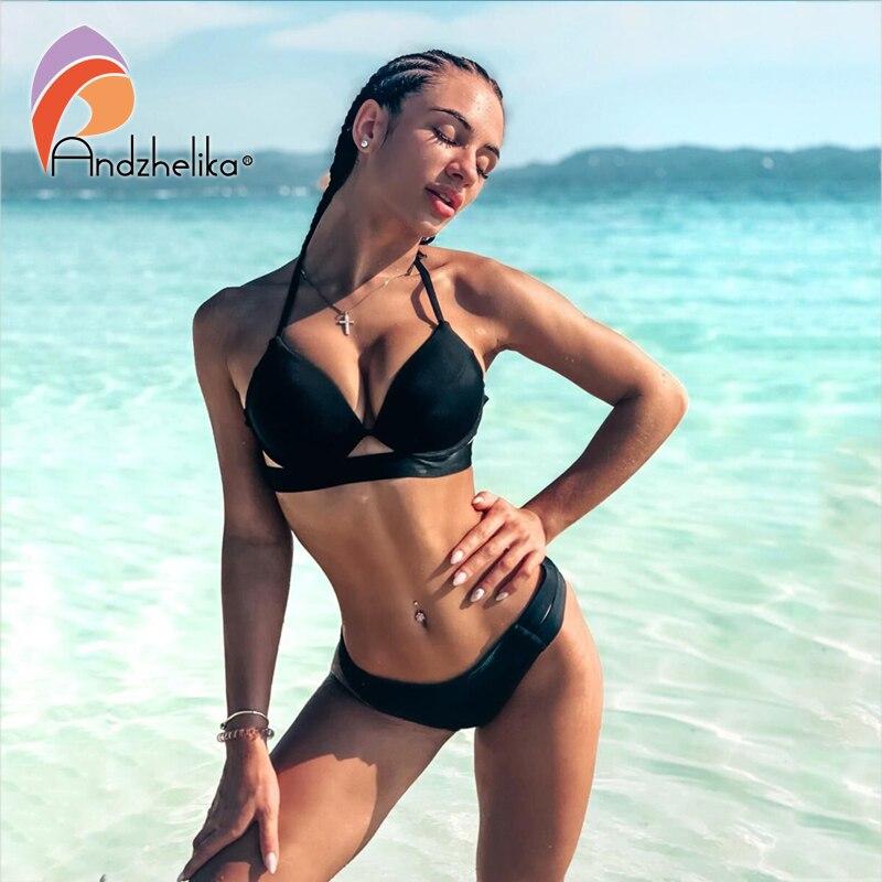 Andzhelika Bikinis Women Bandage Swimsuit Bikini 2020 Sexy Push Up Swimwear Low Waist Bathing Suit Halter Bikinis Suit Swim