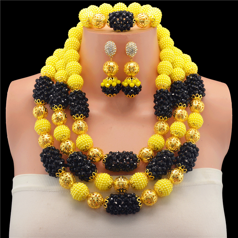 Gold-color Nigerian Wedding African Beads Jewelry Set Crystal Black Yellow Jewelry Sets Necklace Bracelet Earring Bracelet Sets thick gold chain set wholesale men s jewelry white black crystal buckle necklace bracelet stainless steel jewelry sets