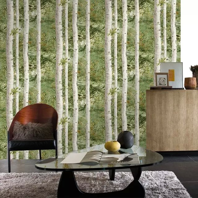 0 53x10m Forest Birch Tree Wallpaper For Walls 3 D Green Blue Gray Branches Of Tropical Rain Wall Paper Home Decoration