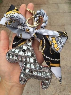 Crystal Horse Keychains Sparkly Bag Charm Bag Bug Tote Charm Cute Silk Ribbon Handbag Purse Charm Women Car Keys Ring Keysholder